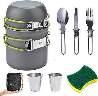 طقم أوعية التخييم الخارجية من أجل 1-2 شخص للتخييم طبخ مع حقائب محمولة وأدوات مائدة للتخييم والمشي لمسافات طويلة