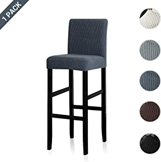 Lellen Reusable Pub Counter Stool Chair Covers Slipcover Stretch Removable Washable Dining Room Chair Covers(Grey,1PC)