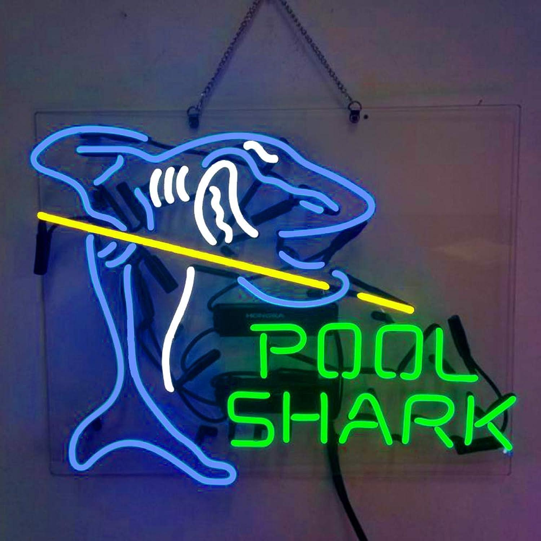 Pool Shark Beer Bar Pub Store Game Room Wall Windows Display Neon Signs