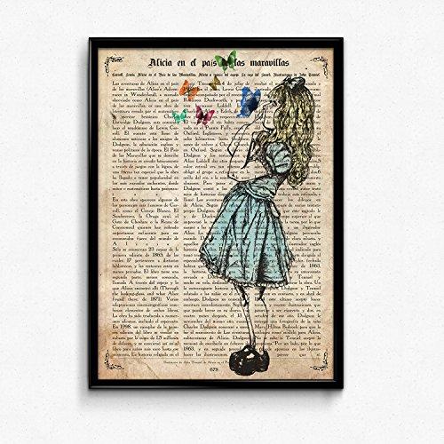 Nacnic Vintage Alice mit Schmetterlinge Poster. Vintage Stil Wanddekoration Abbildung von Insekten und Kindergeschichte mit Bucherseite Hintergrund. Kreative Bilder ohne Rahmen. Größe 24x30cm.