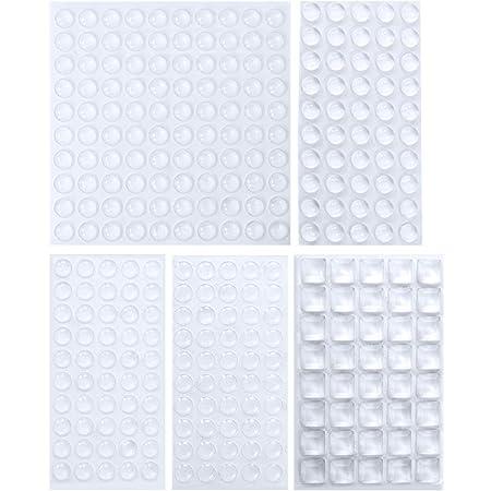 Lagrimas Silicona, SANGGI 290 Piezas Topes Adhesivos Transparentes, Pies de Goma Transparentes, Almohadilla Autoadhesiva,Amortiguación de Ruido,protector antigolpes,búfer muebles,(5 tamaños)