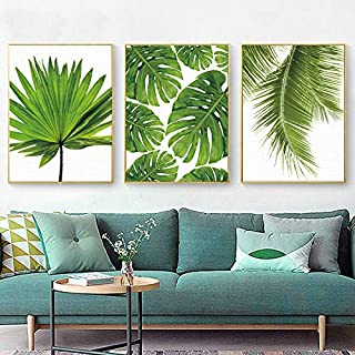 flrtc Canvas Art Painting Tropical Banana Leaf Canvas Painting Fresh Palm Leaves Nordic Green Plant Poster Green Wall Pict...