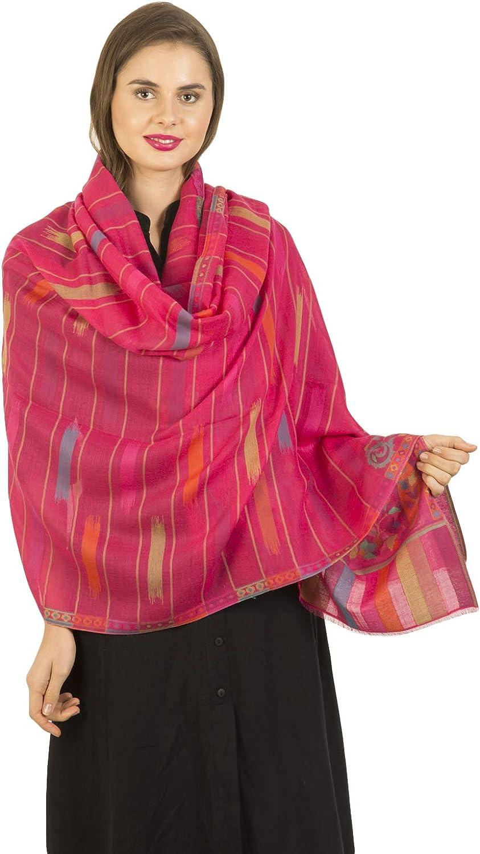 La Vastraa Women Fine Wool Multicolor Woven Shawls Pink Shawls