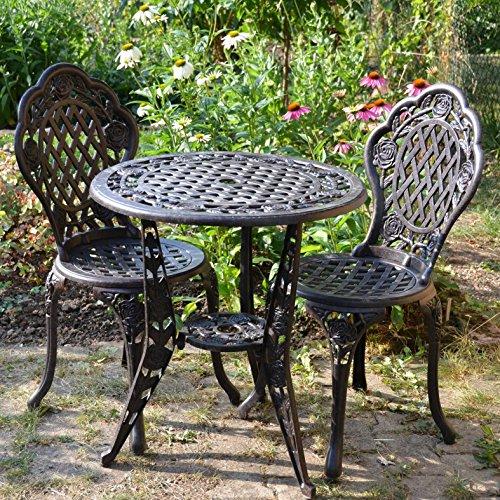 Lazy Susan™ Rose Round 2 Seater Bistro Set | Sand-cast Aluminium Garden Furniture Set | Weatherproof | Maintenance-free | Matching Bistro Chairs | Antique Bronze Finish