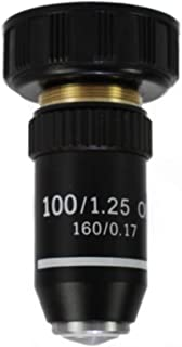 Reticle Optics 100X Microscope Objective Lens   DIN Standard 160/.17   20.2MM Interface   Lab Quality Objective Lens for Compound Biological Microscopes