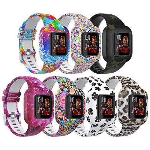 TiMOVO Kinder Uhrarmband Kompatibel mit Garmin Vivofit jr 3 7 Stück Weiche Bedruckte Silikon Ersatzband Verstellbare Uhrenarmband für Junge Mädchen - Multi Colors
