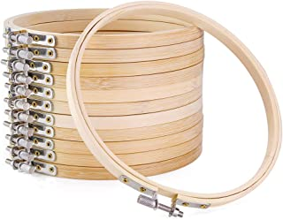 Pllieay12 Pieces 6 Inch Embroidery Hoops Bamboo Circle Cross Stitch Hoop Rings for DIY Embroidery Crafts