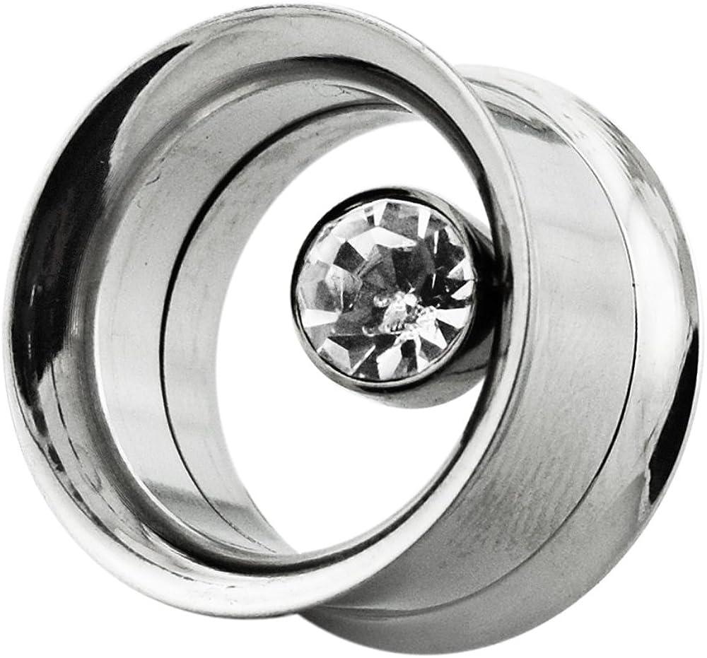 AtoZ Piercing Bezel Set Clear Gemstone in Side Internally Threaded Double Flared Flesh Tunnel - Sold by Piece