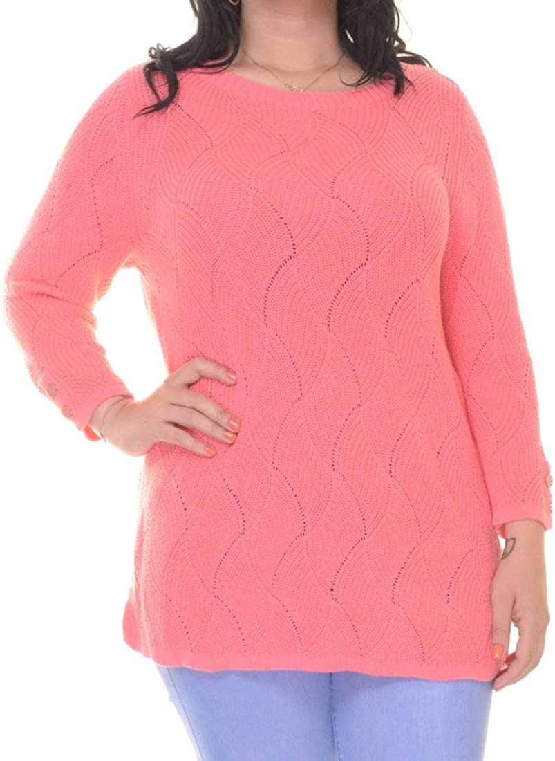 Charter Club Womens Pattern Knit 3/4 Sleeve Pullover Sweater Pink L