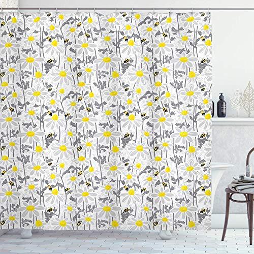 Gjid patroon douchegordijn met bijen madeliefjes kamille-bloemetjes op een bloemenweide, natuurlijke stof, badkamerdecoratie met haken