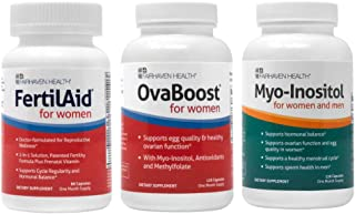 Fertilaid for Women, OvaBoost, & Myo-Inositol Fertility Supplements for Women Combo - 1 Month Supply - Provides Support fo...