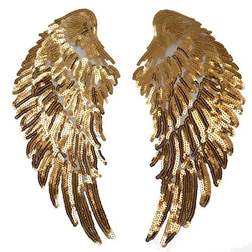 Meliya Parche para Planchar, 1 par de Lentejuelas, alas de ángel, Parche para Planchar DIY Bordado decoración de Ropa, Dorado, Talla única