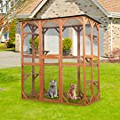 """BWM.Co Large Wooden Cat Enclosure, Outdoor Activity Playhouse Cage for Multiple Cats with 6 Platform,Weatherproof Roof, 63"""" X 36.2"""" X 71"""""""