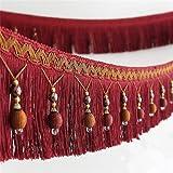 Apliques de tela con borlas de cuentas y flecos colgantes para la banda de la cortina, mesa de boda decorada, 1,8 m rosso