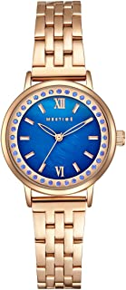 Mestige Watch The Blakely in Rose Gold with Swarovski® Crystals Gifts Women Girls, Metal Band, Blue Pearl