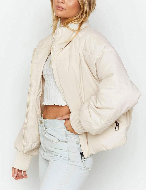 ZCSIA Women's Winter Long Sleeve Full Zipper Baggy Puffer Short Down Jacket Coat