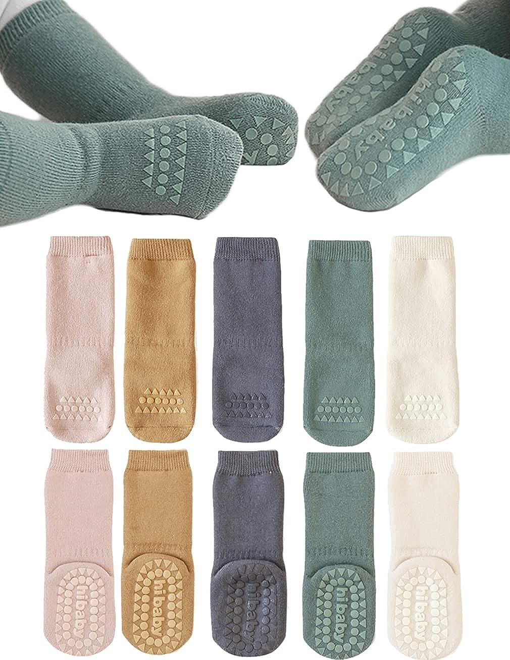 Baby Non Slip Grip Socks Toddler Knee High Anti Skid Crew Slipper Crawling Socks for Girls Boys Newborn
