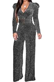 xiaohuoban Womens Flare Sleeve V Neck Casual Stylish Solid Color Jumpsuit