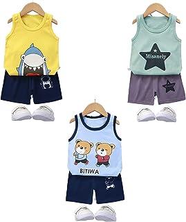 Toddler Baby Boy Vest Shorts Suit Kid Cartoon 3-Piece...