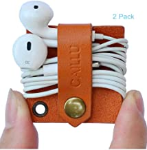 CAILLU Earbud case Tiny Leather Gadget Cord Organizer,Headphone Keychain Earbud Holder,Headset Wrap Winder,Cord Manager,Phone Earphone case Holder USB Cable Ties,Cable Earbud case Clips (Brown)