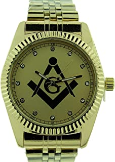 Masonic Watch, Premium Quality, Stainless Steel Band, Collectible Masonic Box WM 977 GLD