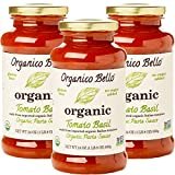 Organico Bello - Organic Gourmet Pasta Sauce - Tomato Basil - 24oz (Pack of 3) - Non GMO, Whole 30...