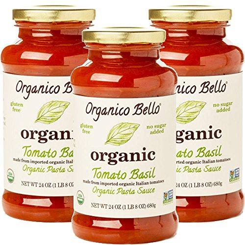 Organico Bello - Organic Gourmet Pasta Sauce - Tomato Basil - 24oz (Pack of 3) - Non GMO, Whole 30 Approved, Gluten Free