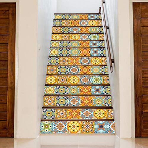 SQINAA 3D Peel and Stick Escaleras Calcomanías Autoadhesivas para Azulejos Calcomanías murales de escaleras para decoración de la Tienda de la Sala de Estar (7.08 x 39.3 Pulgadas / 13PCS),D