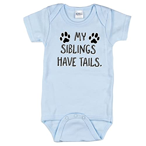 3a06c52deb Texas Tees Cute Newborn Going Home Outfit, My Siblings Have Tails Onsie,  Blue 6