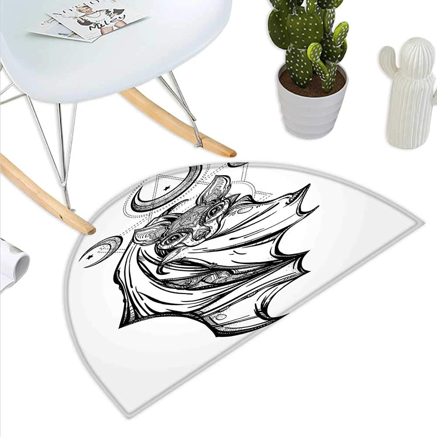 Occult Semicircle Doormat Nocturnal Bat Drawing Crescent Moon with Spiritual Night Animal Creature Graphic Halfmoon doormats H 35.4  xD 53.1  Grey Black