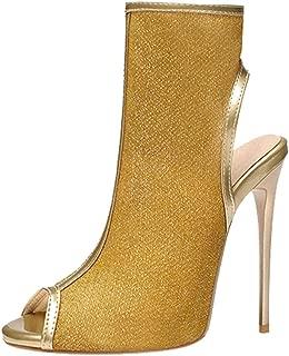 TAOFFEN Women Thin High Heels Spring Booties Peep Toe