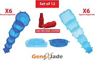 Silicone Stretch Lids 12 Pack Round and Square Lids Reusable, Durable, Expandable, Various Sizes Insta Lids for Containers, Keeps Food Fresh, Dishwasher, Microwave and Freezer Safe Bonus Wine Stopper