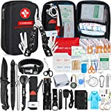 Emergency Survival Kit 145pcs Gifts for Men Dad Husband Survival Gear Tool Kit Survival Tool Emergency Blanket Tactical Pen Pliers for Wilderness Camping Hiking First Aid for Earthquake