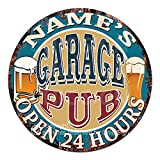 Any Name's Any Text Garage Pub Custom Personalized Chic Tin Sign Rustic Shabby Vintage Style Retro Kitchen Bar Pub Coffee Shop Man cave Decor Mother's Day Father's Day Housewarming Gift Ideas
