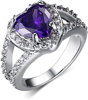 Stainless Steel Purple Heart Cubic Zirconia Crystal Engagement Ring for Women Wedding Band