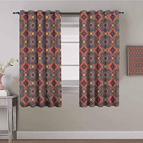 Azbza Blackout Curtains for Living Room - American pastoral retro ethnic style Bohemia - 90% Blackout 3D printing Curtains for Girls Kids Bedroom Window - W90 x H70 inch - Light Filter Privacy Protect