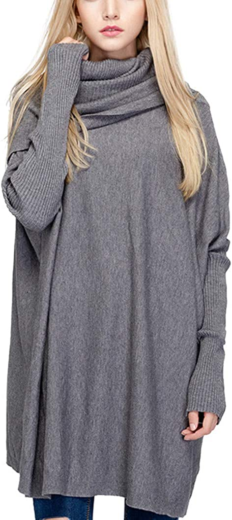 LATH.PIN Women Loose Cowl Neck Pullover Sweaters Dress Turtle Neck Oversized Baggy Long Knit Tunic Sweater