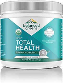 balanced greens Total Health Organic Plant Based Vegan Greens Superfood Powder - Supports Healthy Organs, Gut, Blood, Unflavored-30 Servings