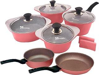Stone Pots and Pans Set, 7-Piece Non-stick Cookware Set, Eco-Friendly, Dishwasher-Safe, Non-scratch, PFOA Free, Pink