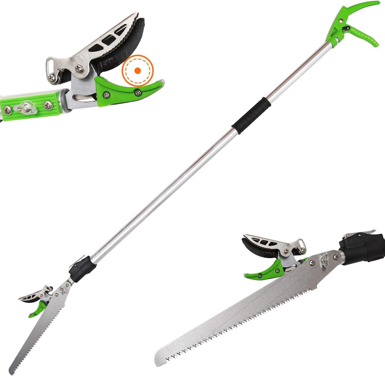 KSEIBI 4 ft - 7.2ft Telescoping Cut and Hold Long Reach Bypass Garden Pruner, Pole Saw, Extendable Saw, Fruit Picker Harvester, Gardening Shear (4-7.2 Feet Telescoping)