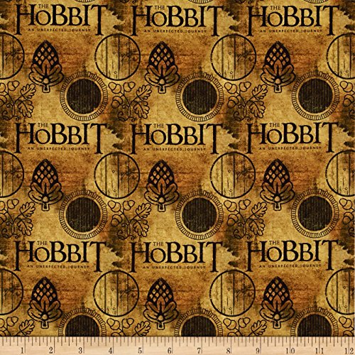 Camelot Fabrics Lord of The Rings Hobbit Logo Brown Fabric by The Yard