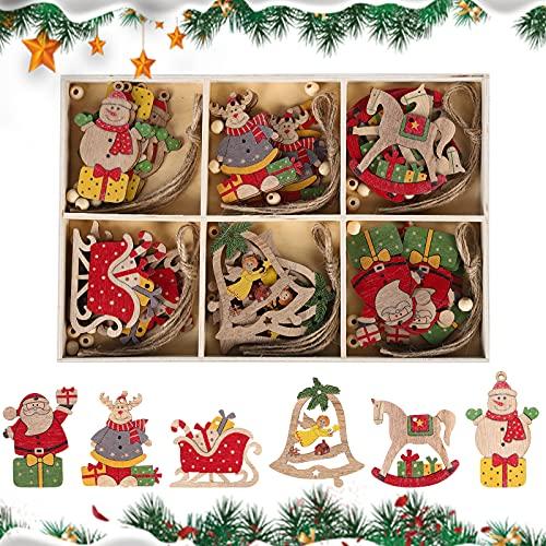 30 Pz Decorazioni Albero di Natale in Legno, Natale Ciondolo in Legno Natalizia Legno Appeso Ornamenti Legno Ornamenti di Natale Pupazzo di neve per Decorazioni Natalizie per le Vacanze in Famiglia
