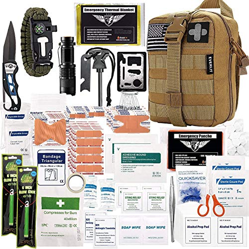 EVERLIT 250 Pieces Survival First Aid Kit IFAK Molle System Compatible Outdoor Gear Emergency Kits Trauma Bag for Camping Boat Hunting Hiking Home Car...