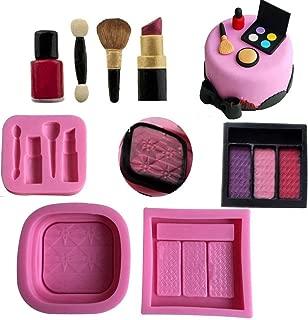 Anyana 3D mini Makeup Tools Loose Powder Eye Shadow silicone mould embossing cake Fondant imprint gum paste mold for Sugar paste fashion cupcake decorating topper decoration sugarcraft set of 3