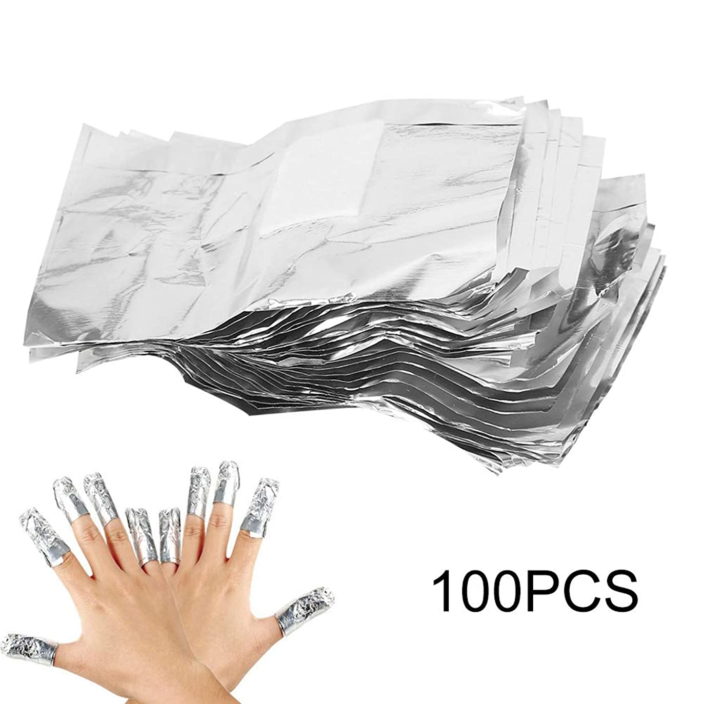 逃げる語周りネイルポリッシュリムーバークリップ マニキュアの除去剤 錫ホイル 100Pcs オレンジ 色棒付き紫外線ゲルの除去剤の綿パッドを包みます