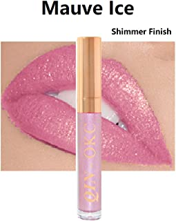 QIN - OKC Super Stay Shimmer Waterproof Kissproof Long Lasting Liquid Lipstick 0.25 fl oz (Mauve Ice)- 64 Fashion Sense Colors