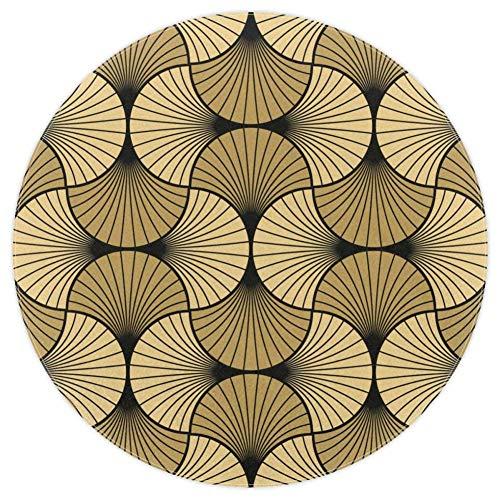 Bennigiry, Art Deco Muschel-Teppich, weich, rund, modern, Memory-Schaum, rutschfest, waschbar, für Wohnzimmer, Schlafzimmer, Spielzimmer, Spielzimmer, Kinderzimmer, 120 cm, Multi, 5.2ft-160cm