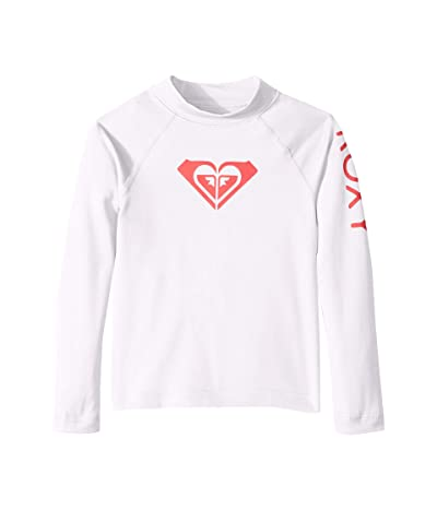 Roxy Kids Whole Hearted Long Sleeve Rashguard (Toddler/Little Kids/Big Kids) (Bright White) Girl