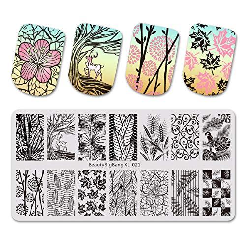 Beautybigbang XL-021 Plaque de stamping Nail Art motifs fleurs, feuilles, plumes roses