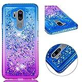 HMTECH LG G7 Funda Bling Glitter Azul púrpura Líquido Silicona Suave TPU Gel Bumper Transparente...